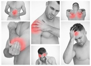 Images of man with pain shown in red